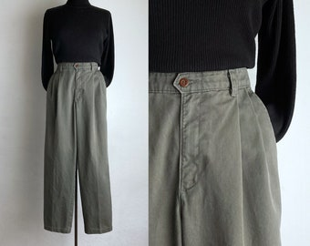khaki 90s trousers vintage pleated pants womens cotton trousers army green