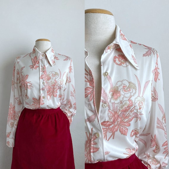 floral 70s shirt womens 70s tops vintage white flo