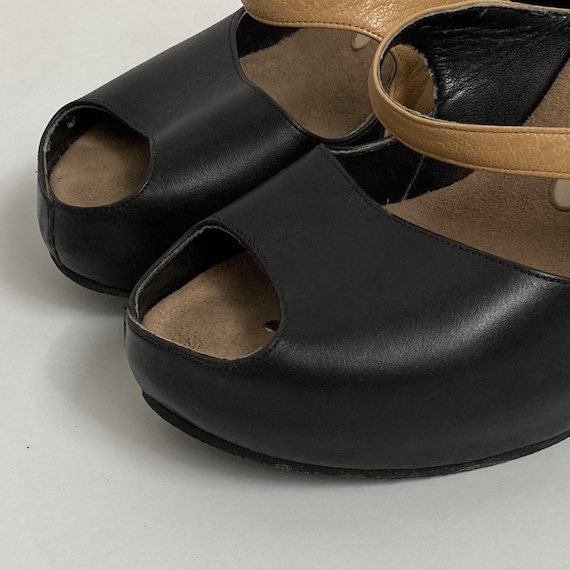 leather wedge heels open toe shoes 90s mules size… - image 7