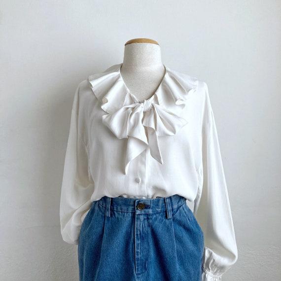 white ruffle 80s blouse vintage poet blouse white