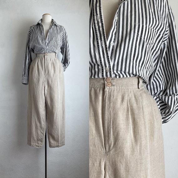 linen 80s pants womens pleated natural linen pants