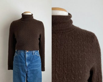 brown cashmere turtleneck sweater vintage cable knit sweater womens turtle neck