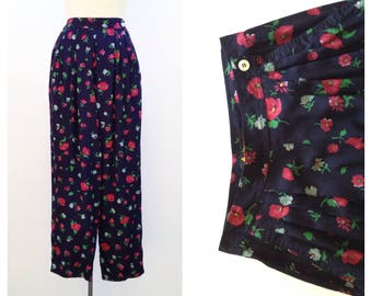 vintage floral pants high waisted pants rayon print pants small baggy highwaisted vintage trousers