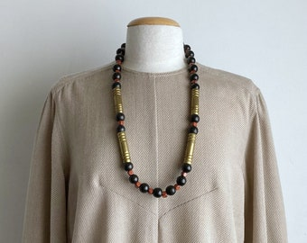 wood bead necklace 70s boho necklace vintage 80s long beaded