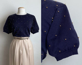 navy 80s top vintage novelty sweater cotton short sleeve holiday beaded