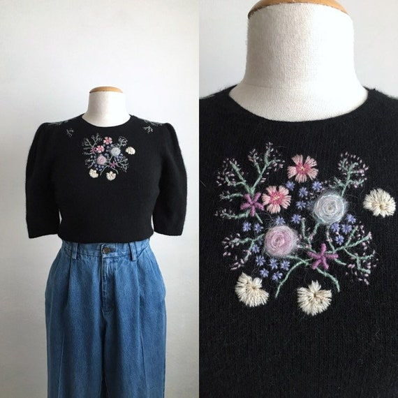 80s black floral sweater vintage puff sleeve top w