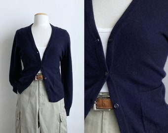 vintage cashmere cardigan navy blue cardigan sweater womens small cashmere v-neck