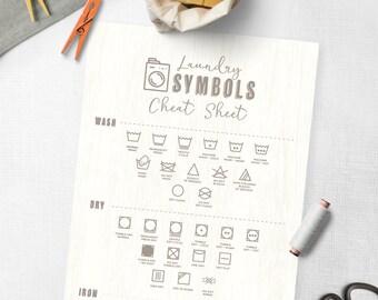 PRINTABLE -  Kawaii Cute Laundry Help Guide Cheat Sheet - Ironing - Washing, Drying - Household Self Help - Domestic
