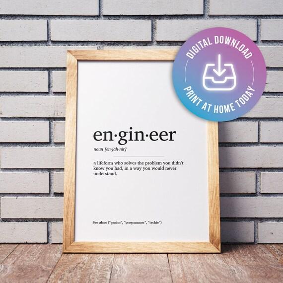 PRINTABLE Engineer Definition Minimal Home Decor