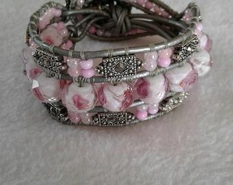 Shabby Chic, Bohemian leather wrap Cuff bracelet