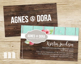 agnes and dora business card rustic wood custom agnes dora business card small business marketing consultant shabby chic printable - Rustic Business Cards