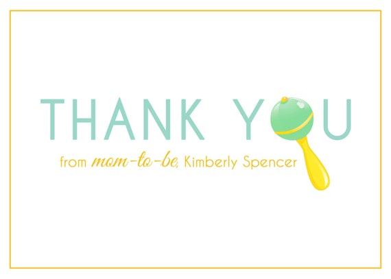 graphic about Printable Baby Shower Thank You Cards identified as Youngster Shower Thank Yourself Card - PRINTABLE - Kid Rattle, Mother Toward