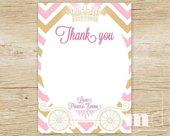 Princess Birthday Thank You Card Gold And Pink Chevron Thank Etsy