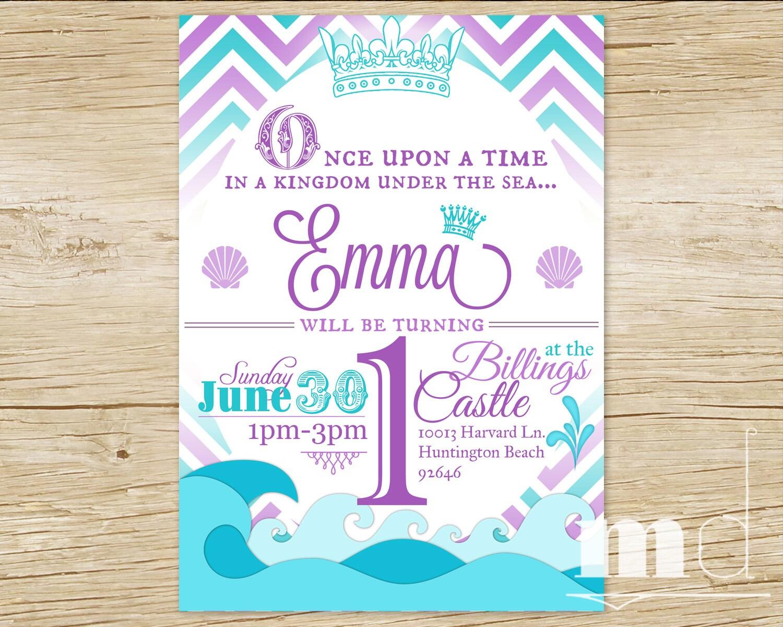 Little Mermaid Princess Birthday Party Invitation Little | Etsy