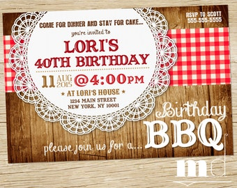 BBQ Birthday Invite, Barbecue Birthday Invitation, Picnic, Potluck, Backyard Birthday Invitation, Red Checkered Lace Wood Invite, PRINTABLE