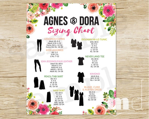 Items Similar To Agnes And Dora Size Chart Agnes Dora Sizing