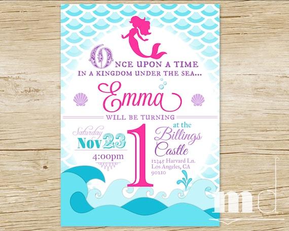 Little Mermaid Party Invitation Birthday