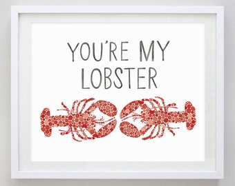 Youre My Lobster Watercolor Print Red