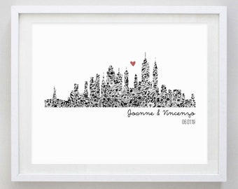Floral NYC Skyline Custom Watercolor Art Print - Wedding Gift - Anniversary - Military Family - New Home - Moving - City Skyline