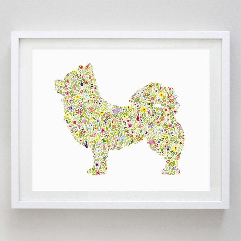Long-Haired Chihuahua Floral Watercolor Art Print - Dog Gift - Dog Breed -  Puppy Art - Dog Lover Artwork - Chihuahua Art - Dog Mom Gift