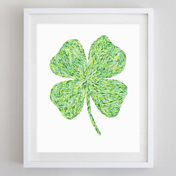 Shamrock Green Watercolor Art Print Etsy