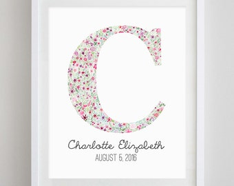 Monogram Floral Watercolor Art Print - With Name