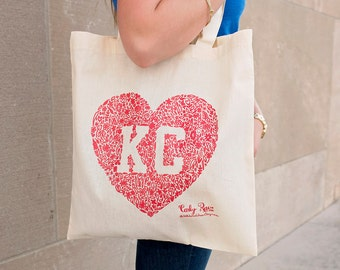 Kansas City Floral Heart Tote - Red or Blue - KC Wedding - Kansas City Party - Gift Bag
