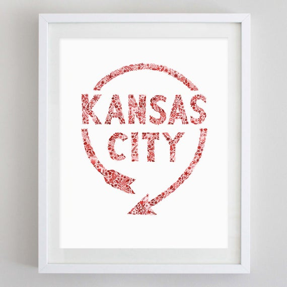 Kansas City Western Auto Sign Floral Watercolor Print Kansas Etsy