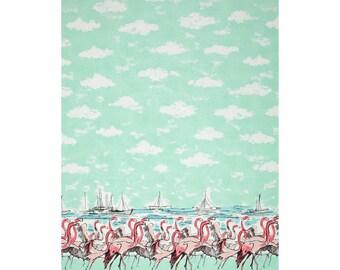 Uncut  yards of Seafoam Flamingo border Michael Miller uncut yards  clouds nature novelty print pinup