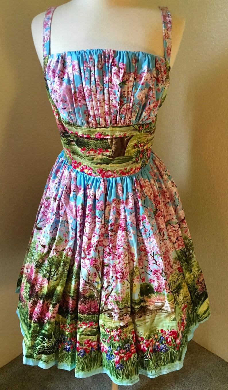 Pinup Doll Collection for Super Amanda Clothing\u2122 Shelf Bust Dress Handmade Primavera Landcape Dress Summer Collection 2019