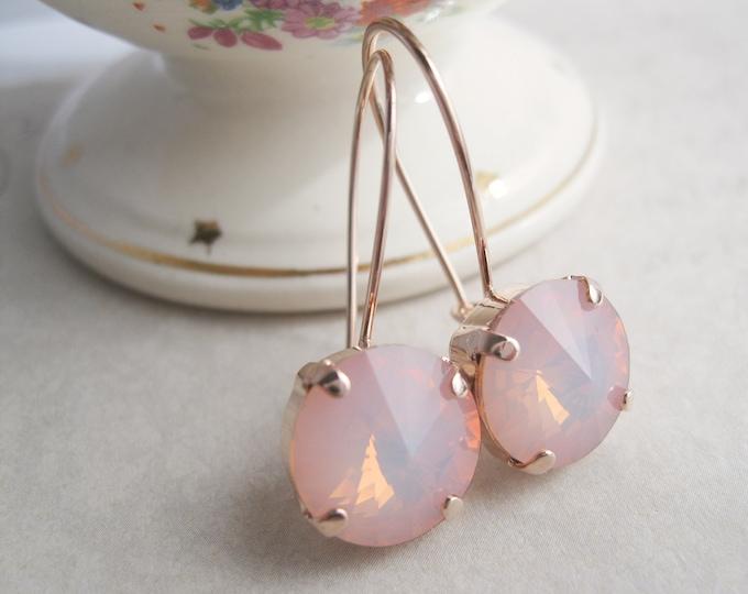 Rosaline Opal crystal drop earrings set in Rose Gold plated settings.  Swarovski crystals.  Nickel free.