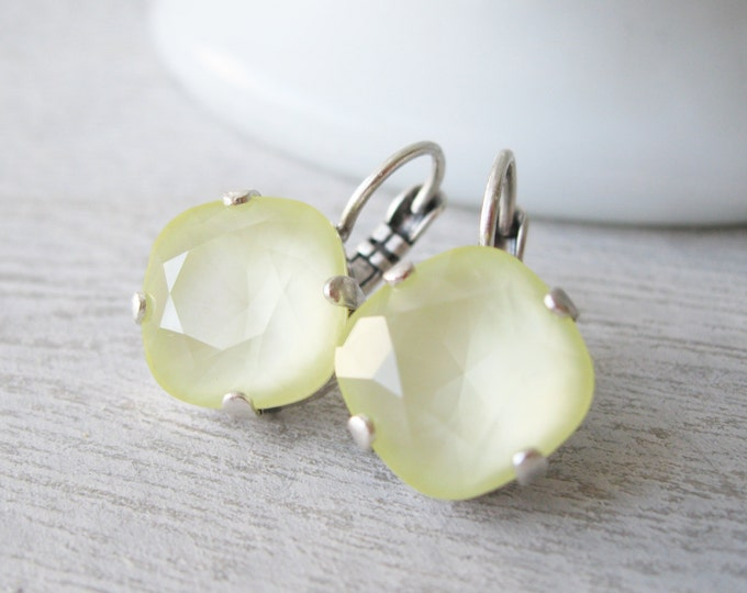 Pale Yellow Bridesmaid Earrings Wedding Jewelry Antique Silver Summer Wedding Swarovski Elements Powder Yellow