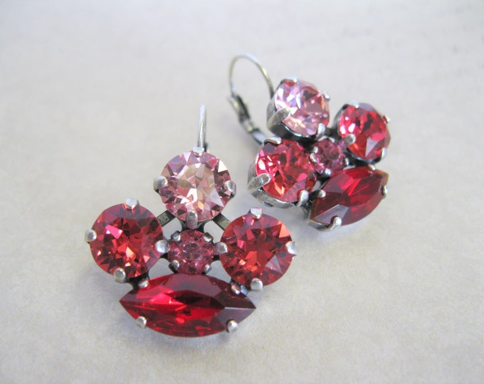 Valentine's Day Red and Pink Crystal Earrings Swarovski crystals Antique Silver Date Night One of a Kind