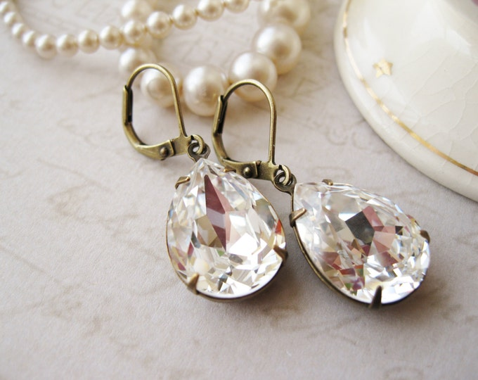 Crystal Rhinestone Teardrop Earrings, Clear Drop Earrings, Vintage Style Wedding, Bridal, Hollywood Glam, Swarovski Elements