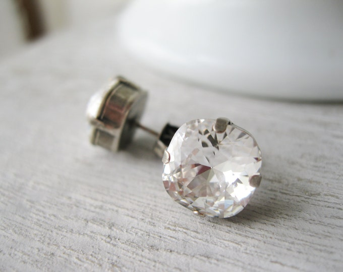 Crystal Rhinestone Studs, Wedding Earrings, Large Square Post Earrings, Bridal Jewellery, Vintage Style, Old Hollywood Glam