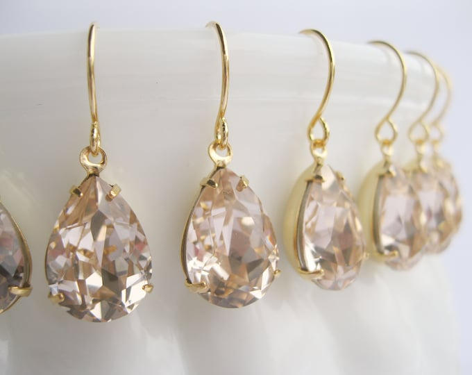 Art Deco Style Earrings Set of 6 pairs Light Silk Champagne Bridesmaid Earrings Swarovski Crystals in Gold Plated Settings
