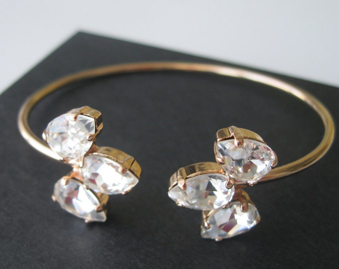 Rose Gold Crystal Cuff Bracelet Rose Gold Bridal Jewelry Art Deco Wedding Jewelry Bridesmaid Gift Teardrop Crystal Bangle Accessories
