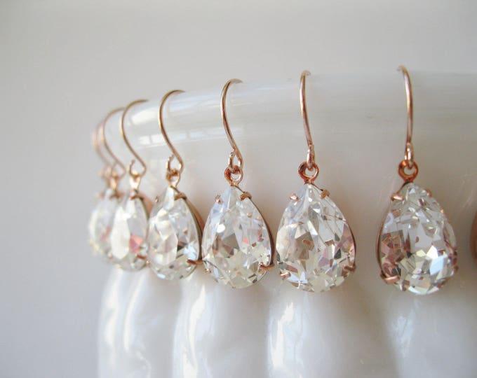 Set of 14 pairs Rose Gold Crystal Bridesmaid Earrings Teardrop Earrings Bridesmaid Sets Vintage Art Deco Wedding Bridal Jewelry Nickel Free