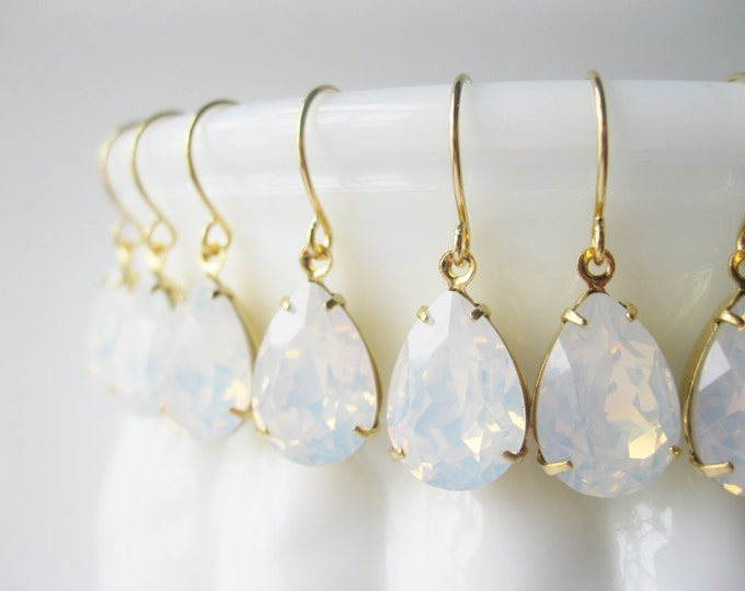 Bridesmaid Earrings SET OF 9 PAIRS White Opal Gold Plated Teardrop Earrings White Wedding Bridal Jewelry Bridesmaid Sets Choice of Metal