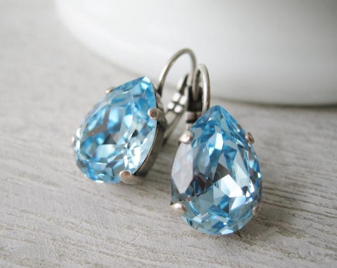 Aquamarine Teardrop Earrings Light Blue Swarovski Elements Spring Wedding Jewelry Bridesmaid Earrings Nickel Free