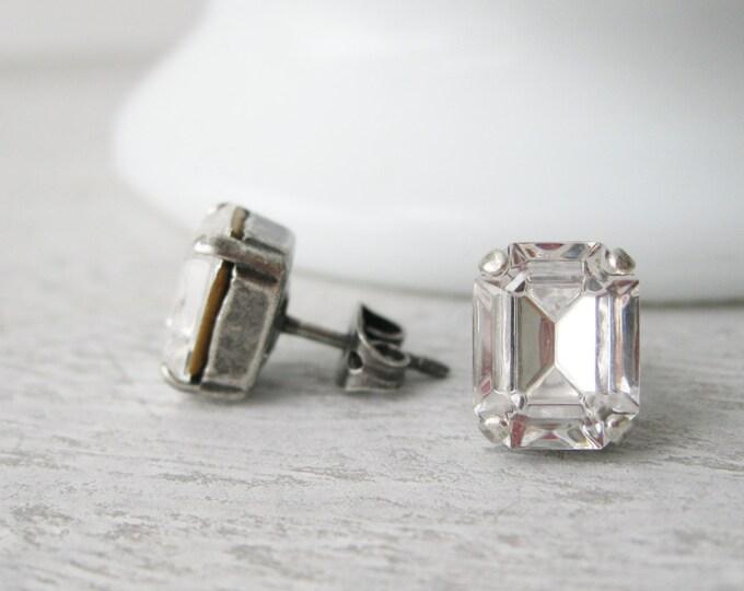 Crystal Stud earrings simple bridesmaid earrings rhinestone wedding jewelry vintage Swarovski CRYSTALLIZED Elements antique silver modern