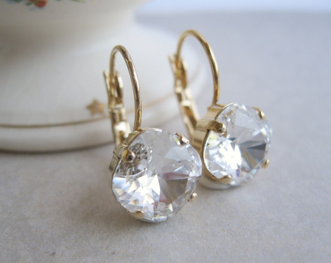 Gold Plated and Crystal Drop Earrings Bridal Jewelry Choice of Metal Silver Plated | Rose Gold Plated | Yellow Gold Plated |