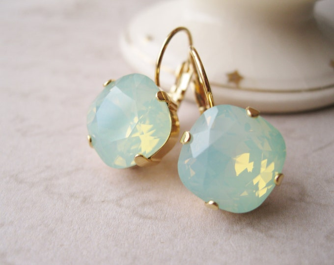 Mint Green and Gold Bridesmaid Drop Earrings Spring Wedding Bridal Jewelry Swarovski CRYSTALLIZED Elements Opal Chrysolite Nickel Free