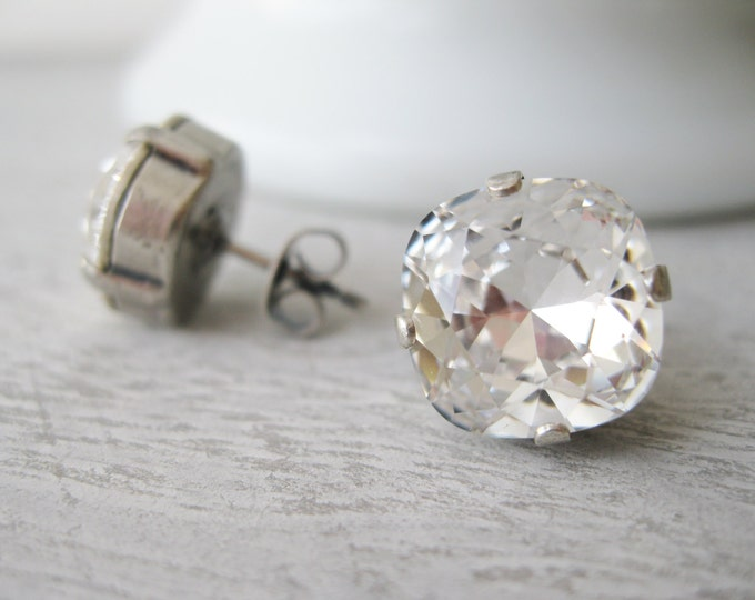 Crystal Rhinestone XL Stud Earrings Clear Swarovski Elements Old Hollywood Vintage style Gift for the bride