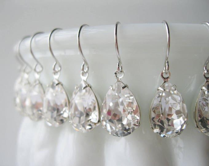 Set of 9 pairs Silver Crystal Teardrop Bridesmaid Earrings Bridesmaid Sets Art Deco Wedding Jewelry Vintage Style Bridal Jewelry Nickel Free