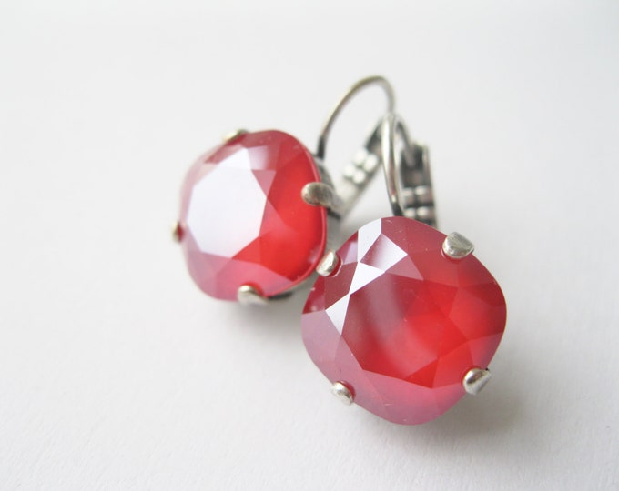 Red Crystal Drop Earrings Christmas Jewelry Rhinestone Earrings Christmas Wedding Royal Red Swarovski Elements Made in Canada