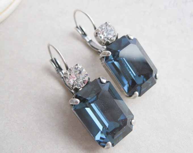 Navy Blue Crystal Bridesmaid Earrings Swarovski Elements Antique Silver Leverbacks Princess Wedding Jewelry Montana Blue