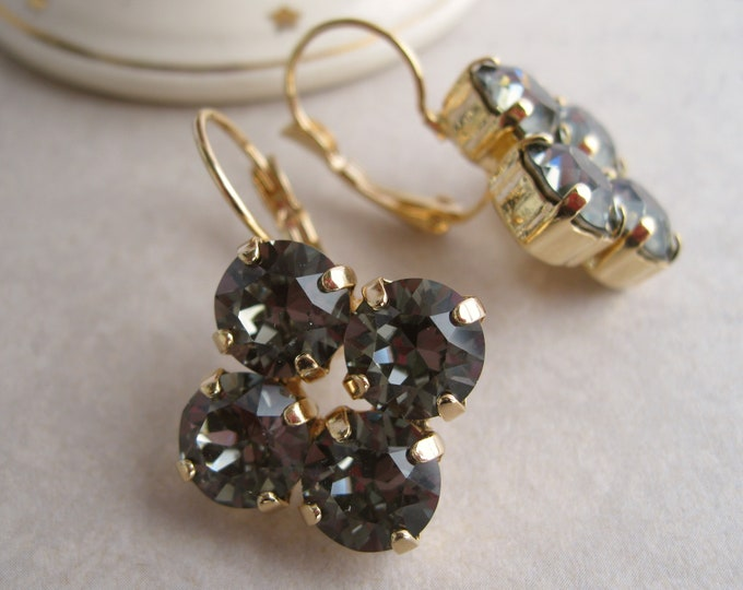Gold and Black Rhinestone Earrings Swarovski crystals Black Diamond Bridesmaid Jewelry Art Deco Statement Jewelry Leverback Nickel free