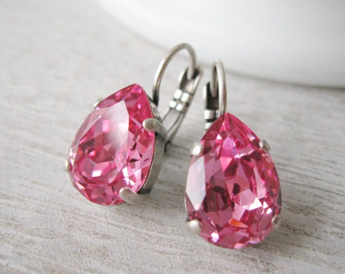 Pink Crystal Teardrop Earrings Spring Bridesmaid Jewelry Swarovski Elements Rose Wedding Jewelry Rhinestone Earrings