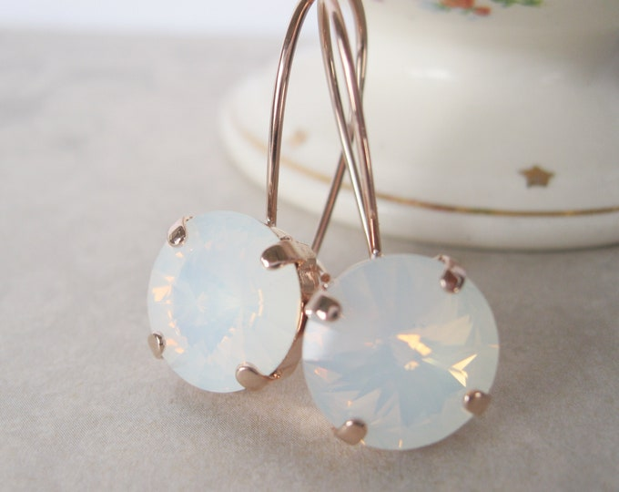White Opal crystal drop earrings set in Rose Gold plated settings.  Swarovski crystals.  Nickel free.